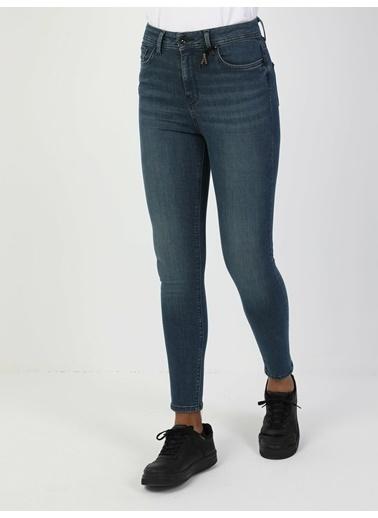 Colin's 760 Dıana Yüksek Bel Dar Paça Super Slim Fit Mavi Kadın Jean Pantolon İndigo